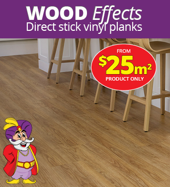 Wood Effects : Direct stick vinyl planks.