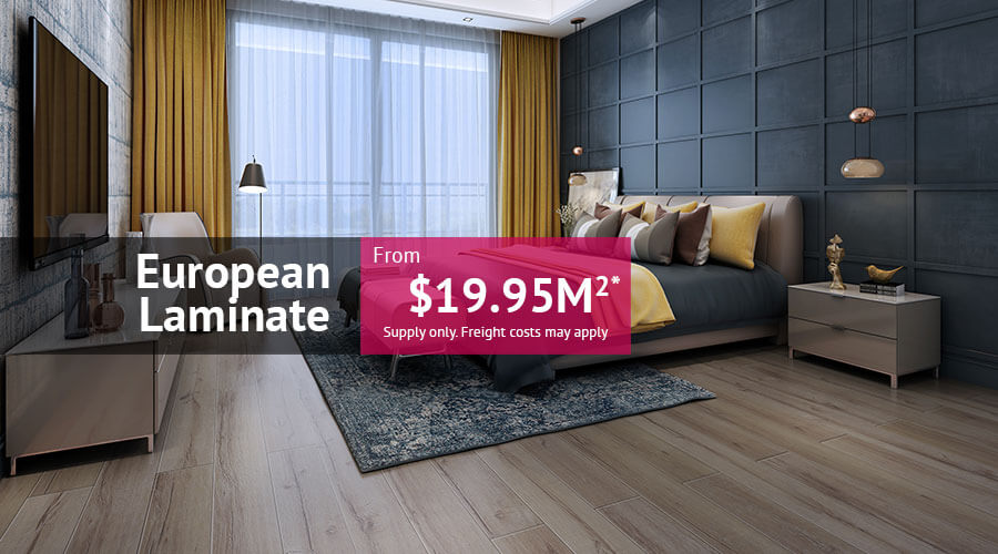 European Laminate from $19.95m2 supply only. Freight costs may apply.