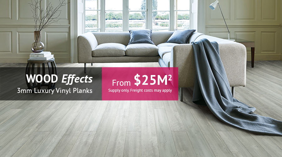 Wood Effects : 3mm Luxury Vinyl Planks from just $25m2 supply only. Freight costs may apply.