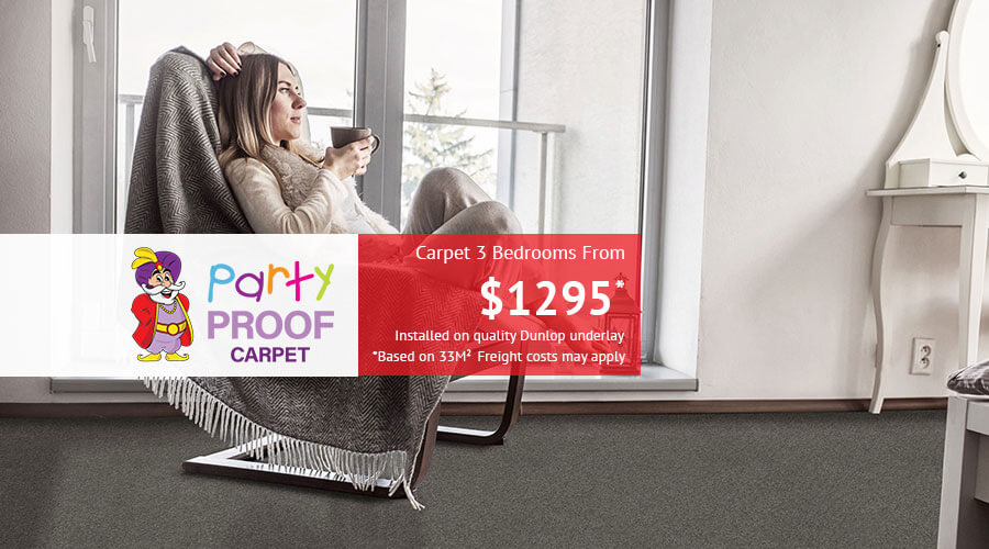Party Proof - Carpet 3 Bedrooms from just $1295  fully installed on quality Dunlop Underlay. Based on 33m2. Freight charges may apply