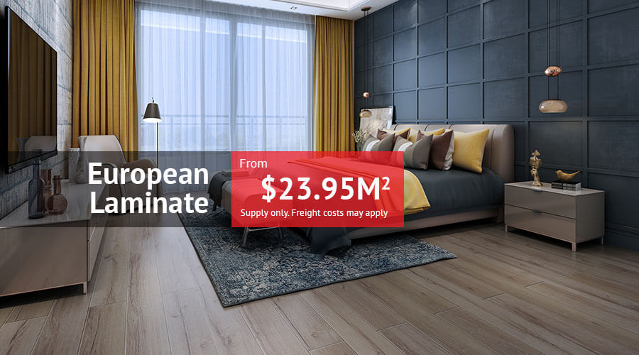 European Laminate from $23.95m2 supply only. Freight costs may apply.